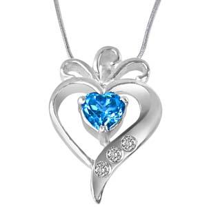 Diamond Pendants-Diamond, Blue Topaz & Sterling Silver Pendant