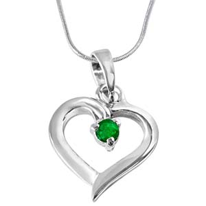 Silver Pendants-Green Emerald & Sterling Silver Pendant