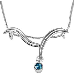 Gift Blue Topaz & Sterling Silver Pendant on Rakhi