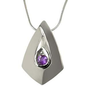 Silver Pendants-Amethyst Pendant Set in Sterling Silver