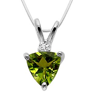 Diamond Pendants-Green Peridot & Sterling Silver Pendant
