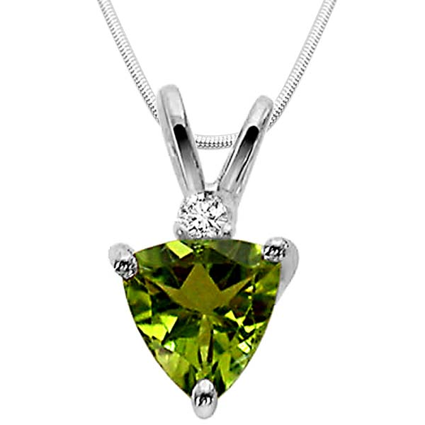 Green Peridot & Sterling Silver Pendant