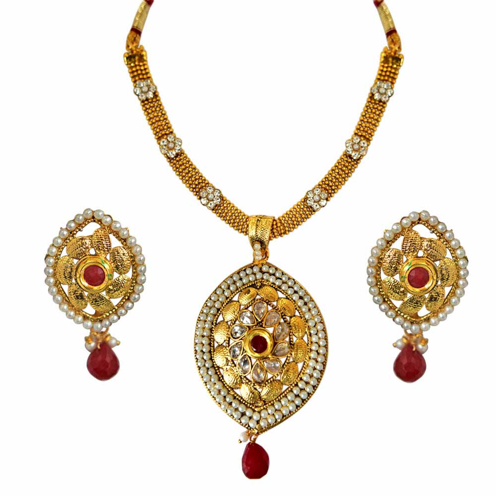 Ethnic Red and White Stone, Shell Pearl and Gold Plated Pendant Necklace and Earring Set