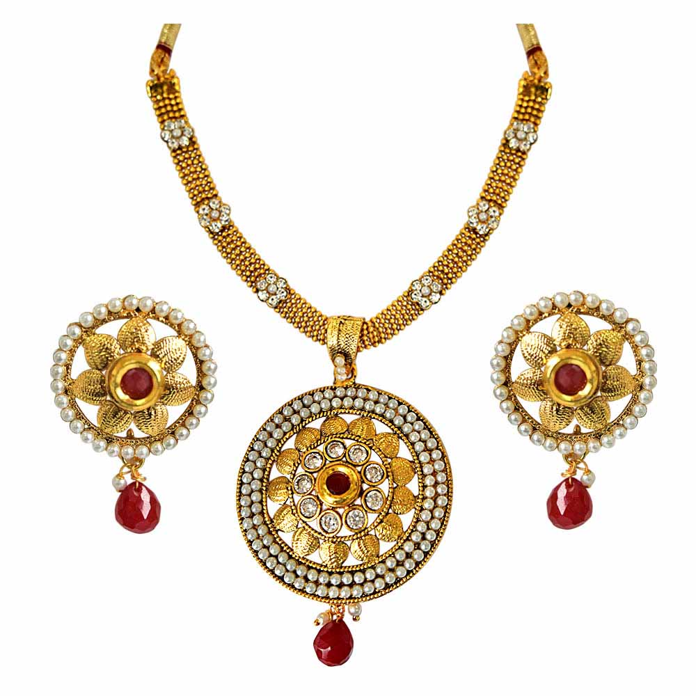 Round Shaped Traditional Red and White Stone, Shell Pearl and Gold Plated Pendant Necklace and Earring