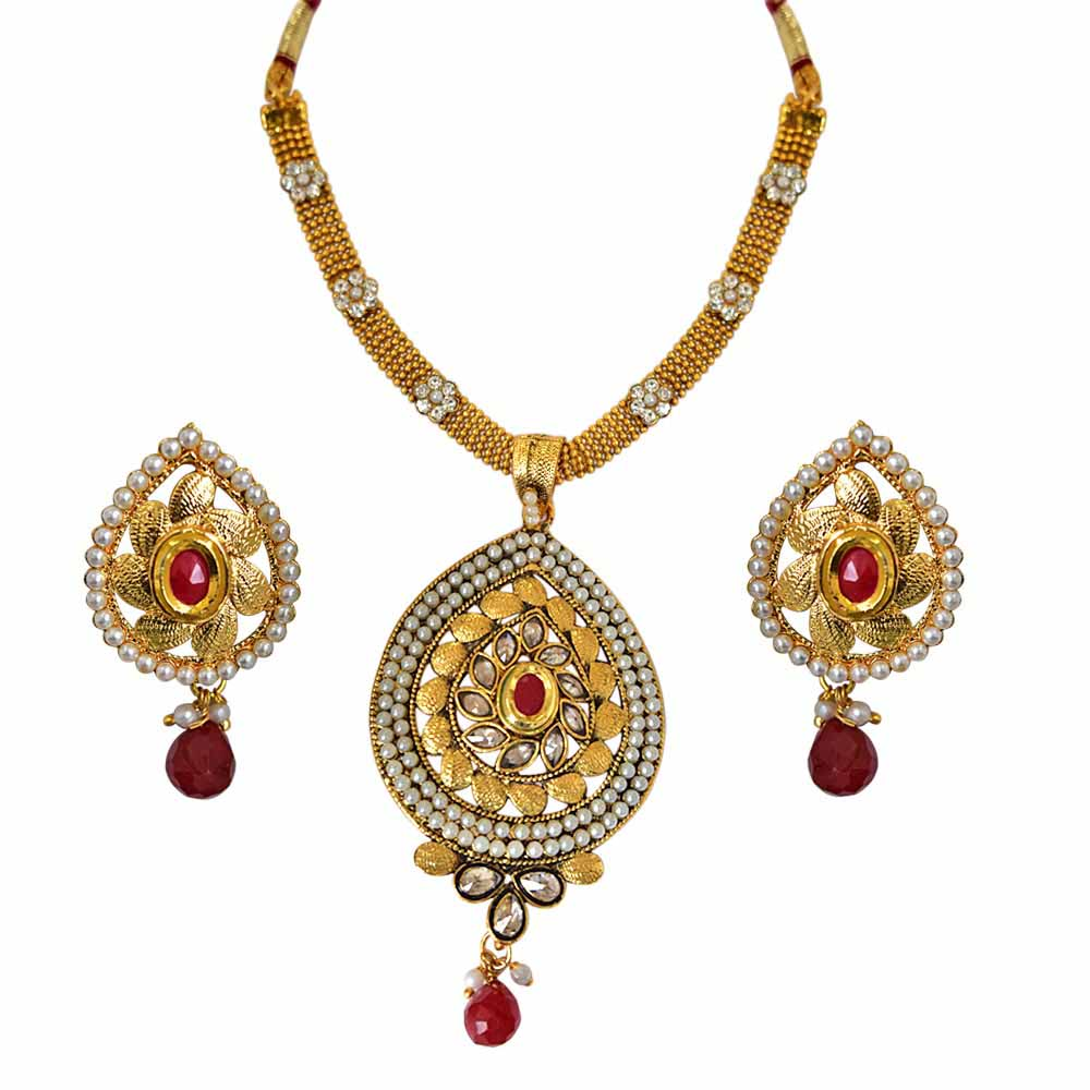 Pearl Sets-Traditional Pear Shaped Red and White Stones, Shell Pearl and Gold Plated Pendant Necklace and Earring