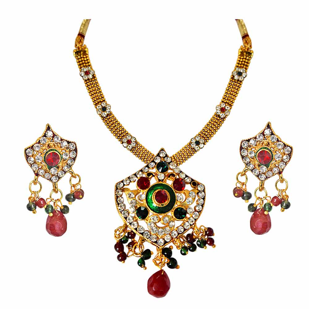 Gold Plated Sets-Ethnic Red, Green and White Stones and Gold Plated Pendant Necklace and Earring Set with Enamel