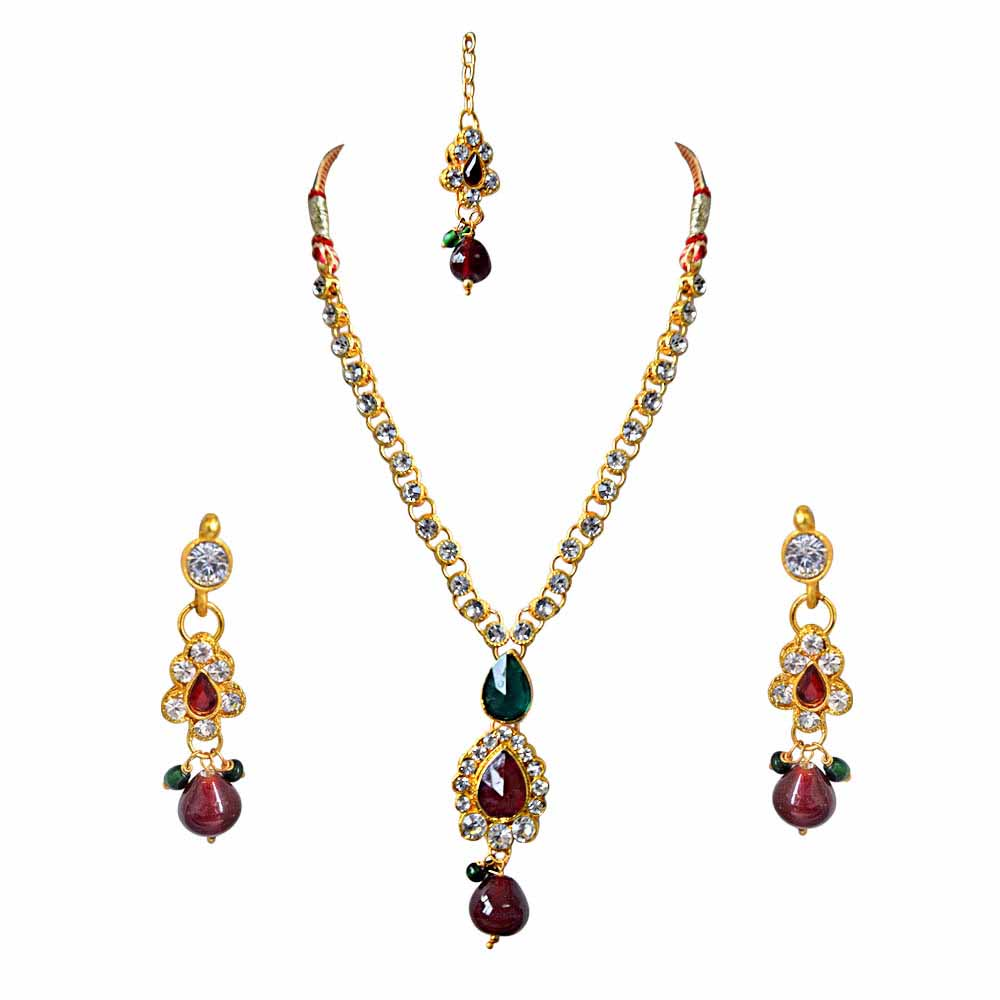 Delicate Red, Green and White Stones and Gold Plated Necklace, Earring and Manga Tikka Set