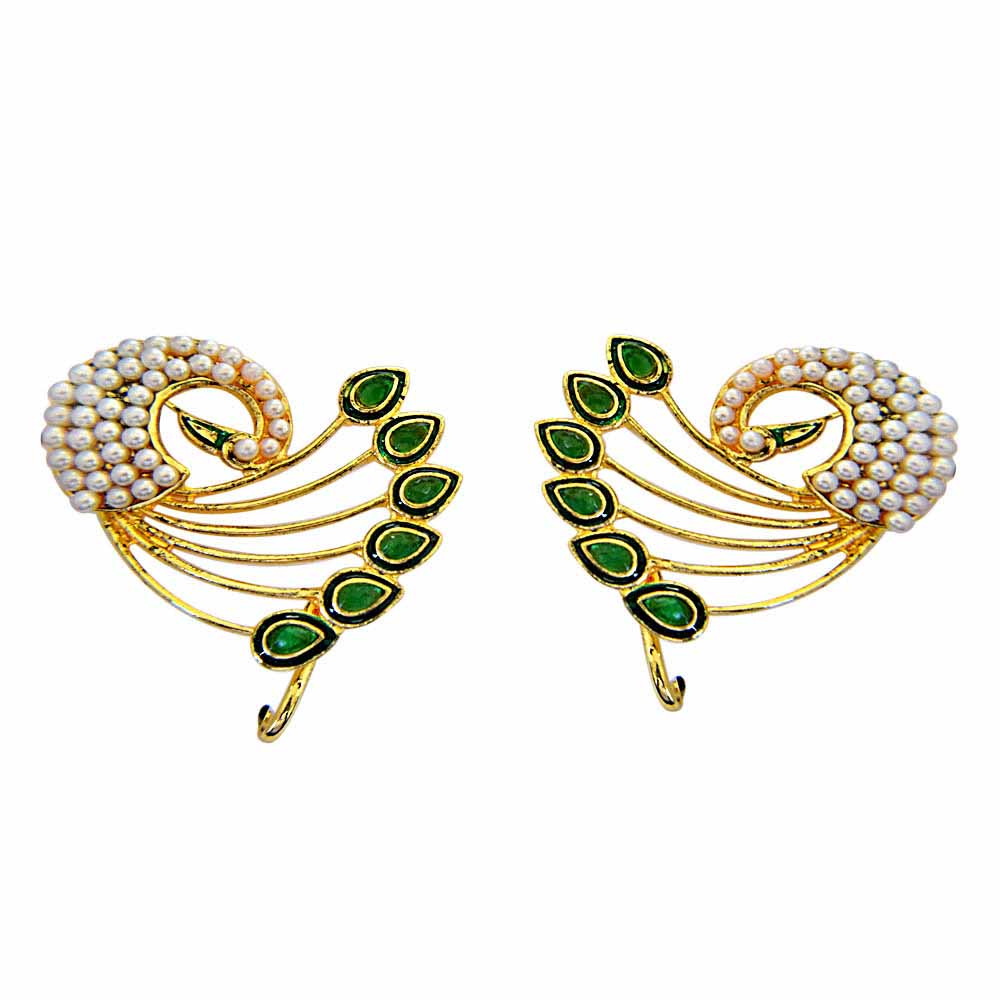 Gold Plated Earrings-Peacock Lovers Ear Cuffs