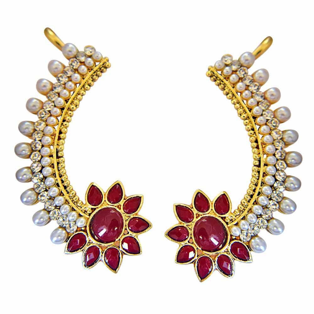 Gold Plated Earrings-Zenith of Love Ear Cuffs