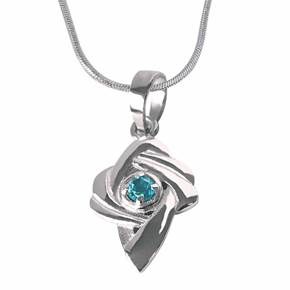 Precious Stone Pendant-Shinning Beauty - Blue Topaz 925 Sterling Silver