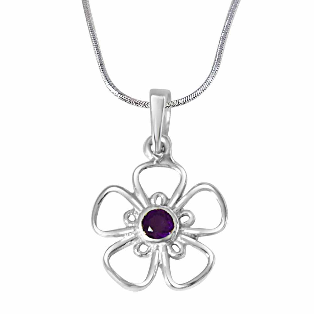 The Flower of Life Purple Amethyst and 925 Sterling Silver Pendant
