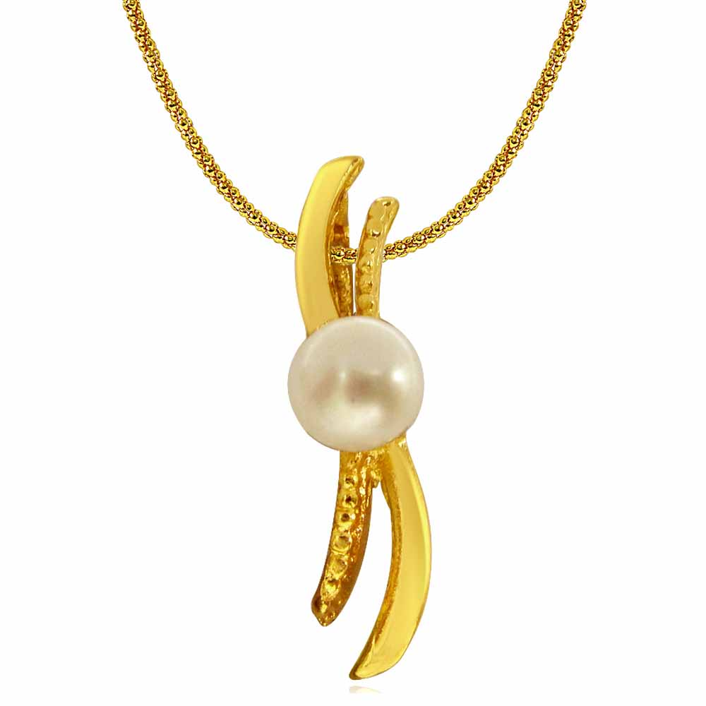 Pearl Pendants-Real Button Pearl and Gold Plated 'S' Shaped Pendant