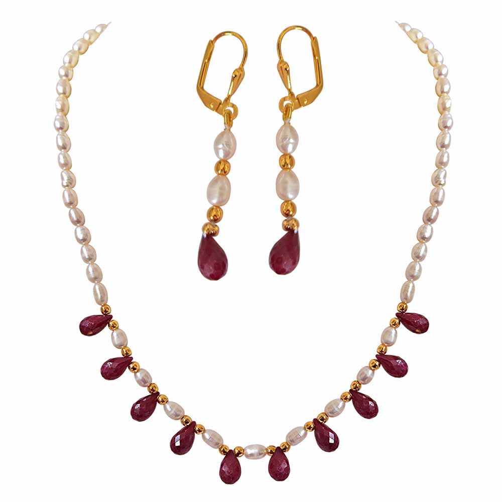 Faceted Drop Ruby, Rice Pearl and Gold Plated Beads Necklace and Earrings Set