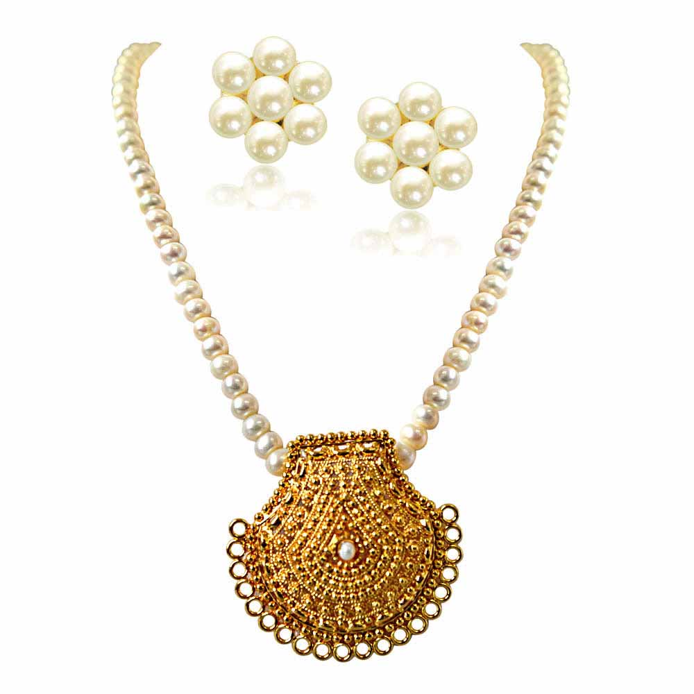 My Sunshine Gold Plated Pendant and Single Line Real Pearl Necklace