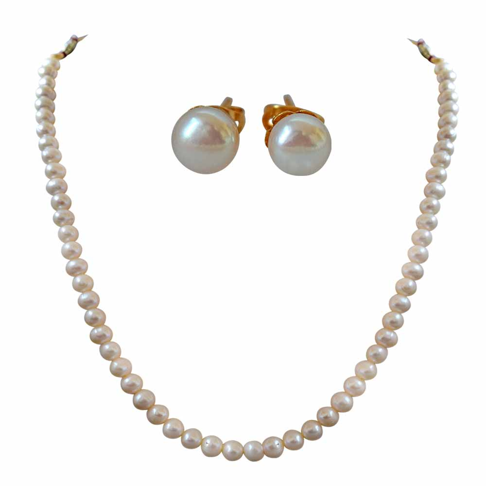 7/8 mm Real Round Natural White Pearl Single Line Necklace and Earring Jewellery Set
