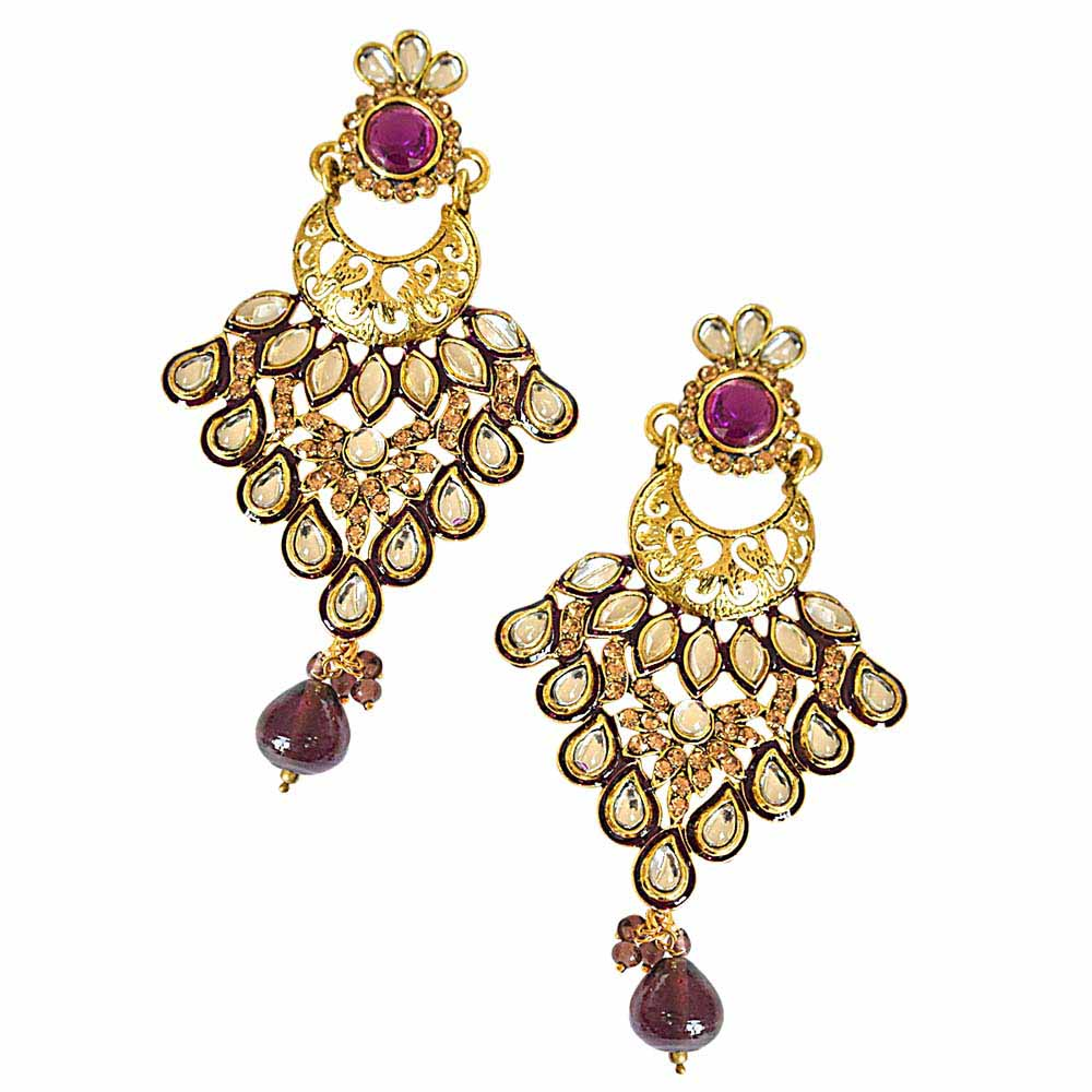 Trendy white polki, purple & yellow stones & gold plated hanging earrings