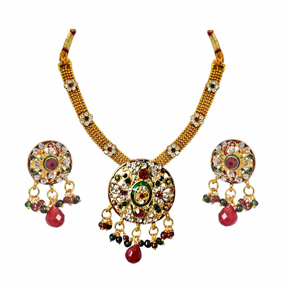Ethnic round shaped red, green & white stones & gold plated pendant necklace & earring set with enamel