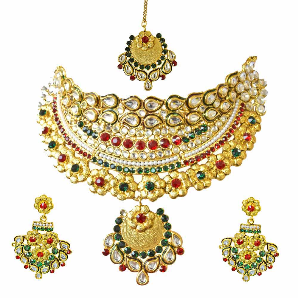 Ethnic choker style gold plated designer coloured stone fashion jewellery set for wedding