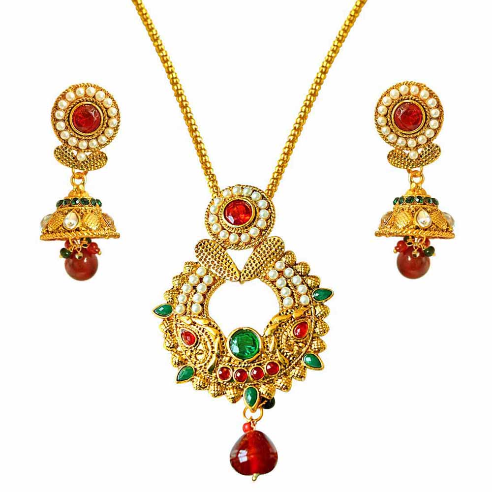 Gold Plated Sets-Traditional red, green & white shell pearl & gold plated pendant necklace & earring set