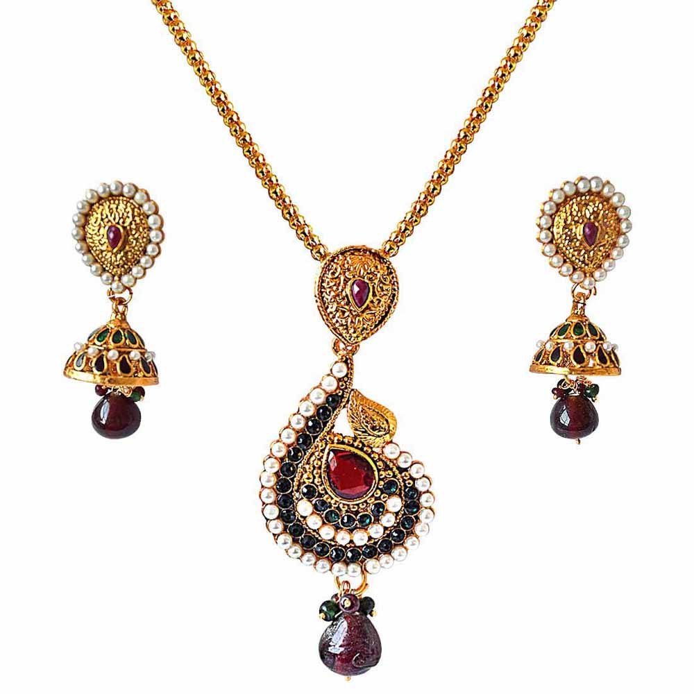 Traditional drop shaped red, green & white shell pearl & gold plated pendant necklace & earring set