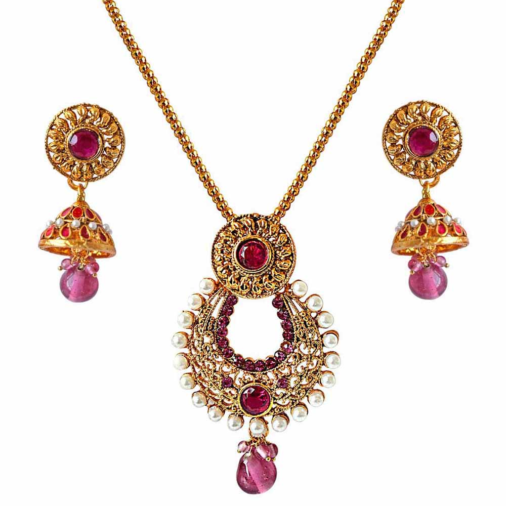 Gold Plated Earrings-Fancy drop shaped pink stone & white shell pearl & gold plated pendant necklace & earring set