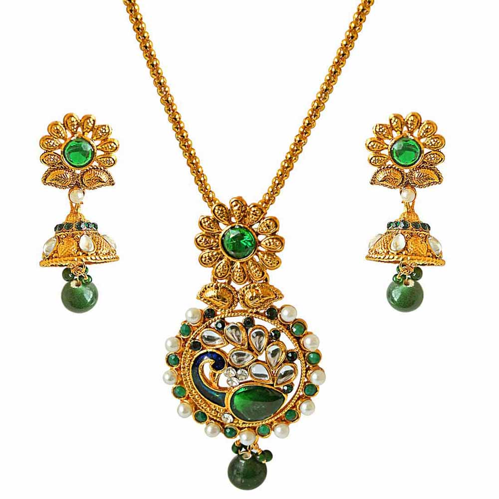 Traditional peacock design green, white stone & shell pearl & gold plated pendant necklace & earring set