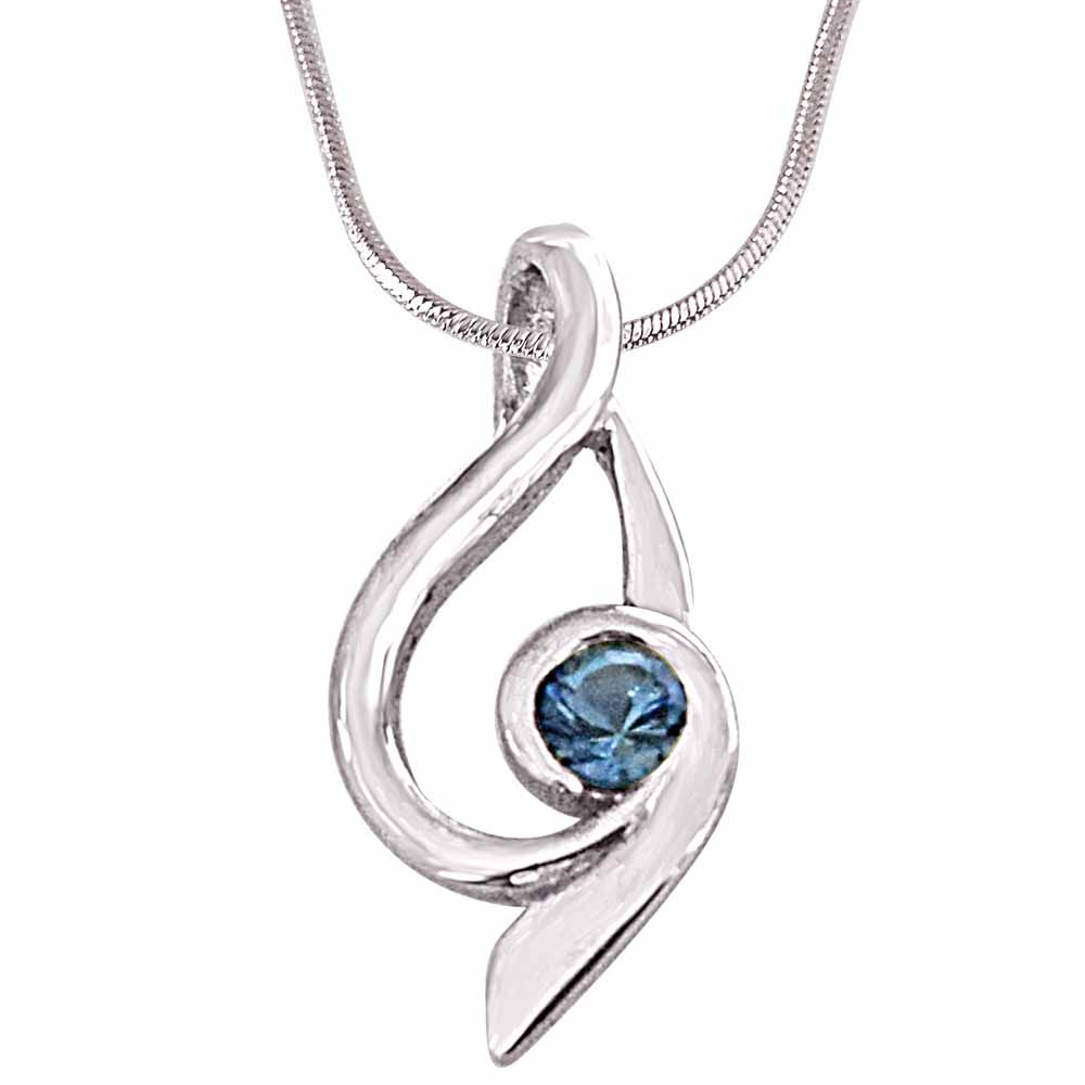 Trendy blue topaz and 925 sterling silver pendant with silver finished 18in chain