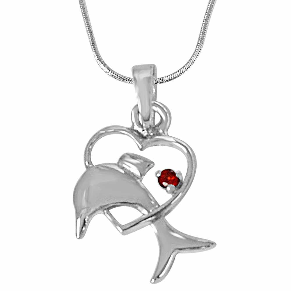 Dolphin heart red garnet & 925 sterling silver pendant with 18 in silver finished chain