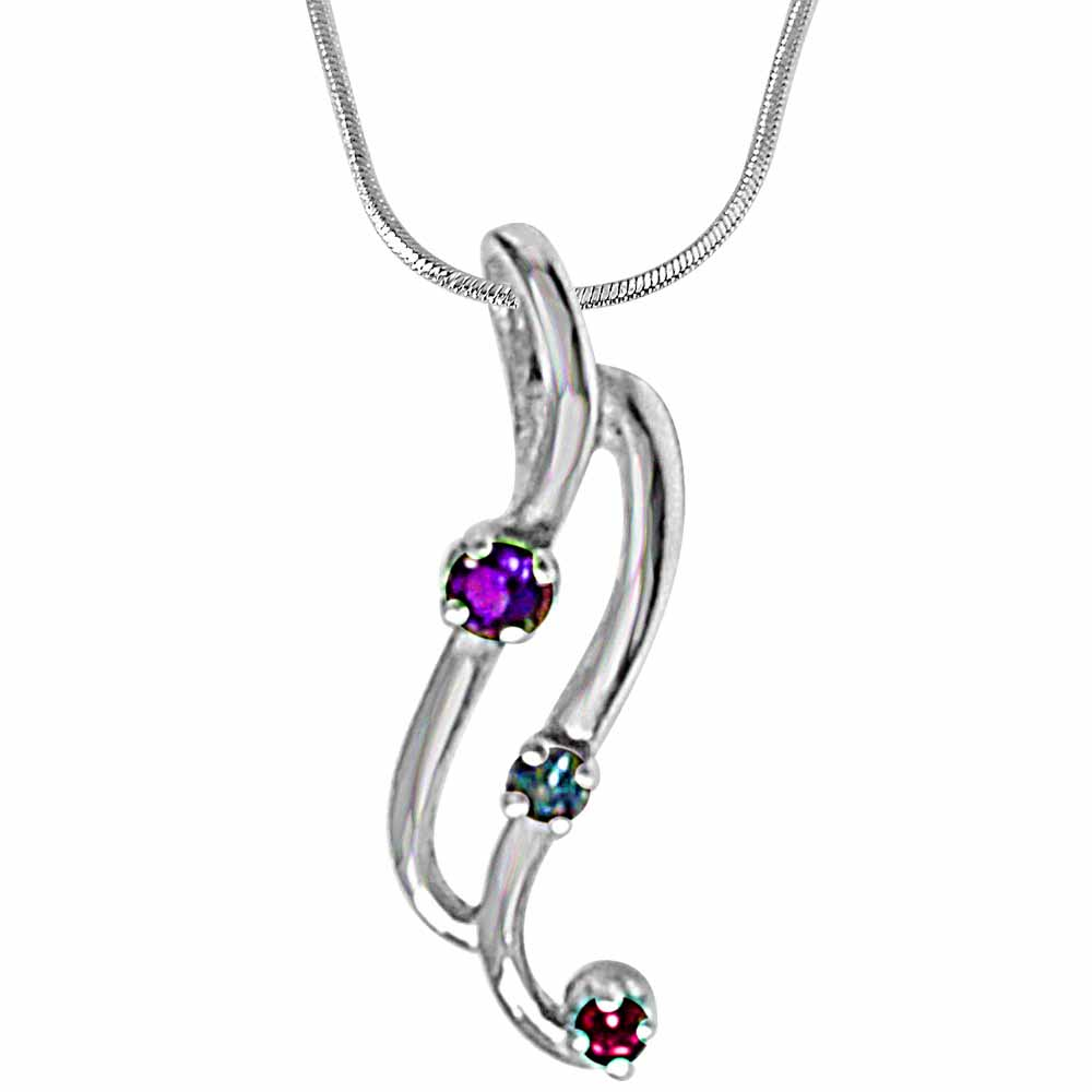 Curvy blue topaz, amethyst rhodolite & 925 sterling silver pendant with 18 in silver finished chain