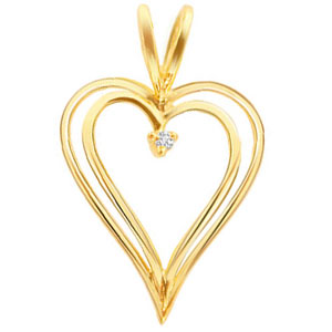 2 Line Heart Shape Diamond Pendant