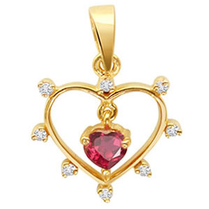 Heart Collection-Diamond & Ruby Heart Shape Pendant