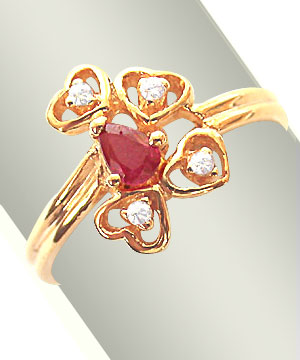 Diamond n Ruby Ring