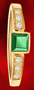 Diamond and Square Emerald Ring