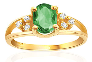 Diamond and Oval Emerald Ring