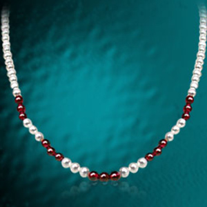 Real Pearl & Garnet Beads Necklaces