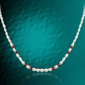 Single Line Ruby Beads & Rice Pearl Necklace