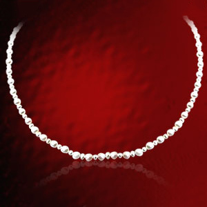 Single Line White Round Pearl Necklace