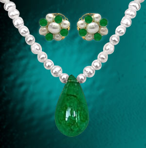 Drop Shape Green Onyx Pearl Necklace with Earring