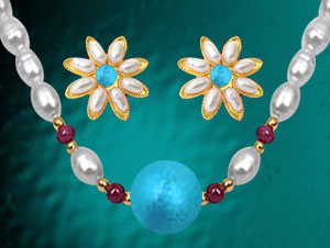 Turquoise & Ruby Pearl Necklace with Earrings
