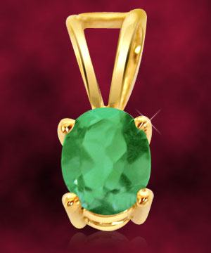 Oval Shape Green Emerald Pendant
