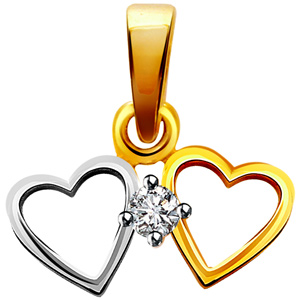 Heart Shape Diamond & Gold Pendant