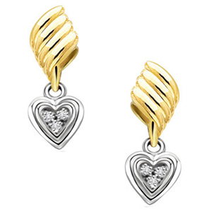Diamond Earrings-Diamond Heart Shape Earrings