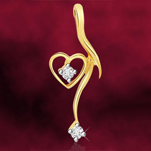 Heart Shaped Diamond and Gold Pendant
