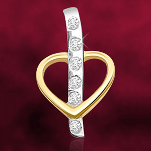 Dual Plated Diamond and Gold Heart Pendant