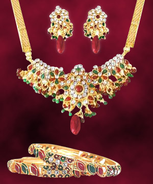 Traditional Necklace Earring Set with Bangles