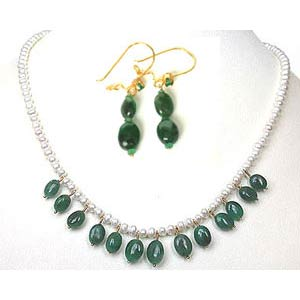 Precious Stone Sets-Real Green Oval Emerald Necklace Set