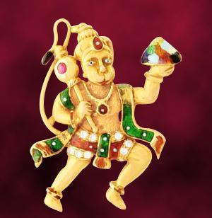 Religious Pendants-Hanuman Religious Diamond Pendant