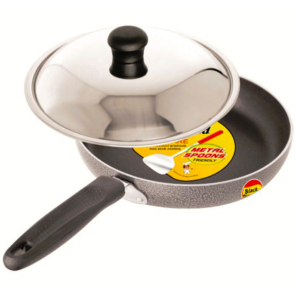 Black Diamond Non-Stick Fry Pan with Stainless Steel Lid