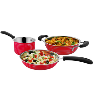 Cookaid Elite Heavy RED Stainless Steel Cookware Set - 3 Pcs