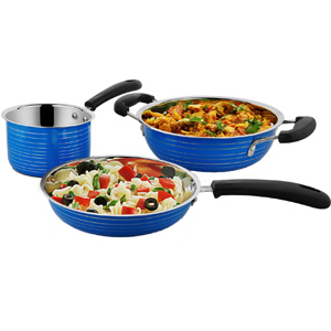 Cookaid Elite Heavy BLUE Stainless Steel Cookware Set - 3 Pcs